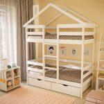 детская двухъярусная кровать домик белый