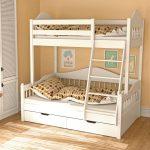 детская двухъярусная кровать белая с диваном