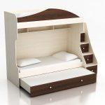 детская двухъярусная кровать коричневая