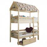 детская двухъярусная кровать домик с крышей