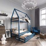детская двухъярусная кровать синяя