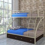 детская двухъярусная кровать синяя с серым