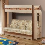 детская двухъярусная кровать с диваном внизу