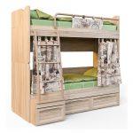 детская двухъярусная кровать с серыми шторами