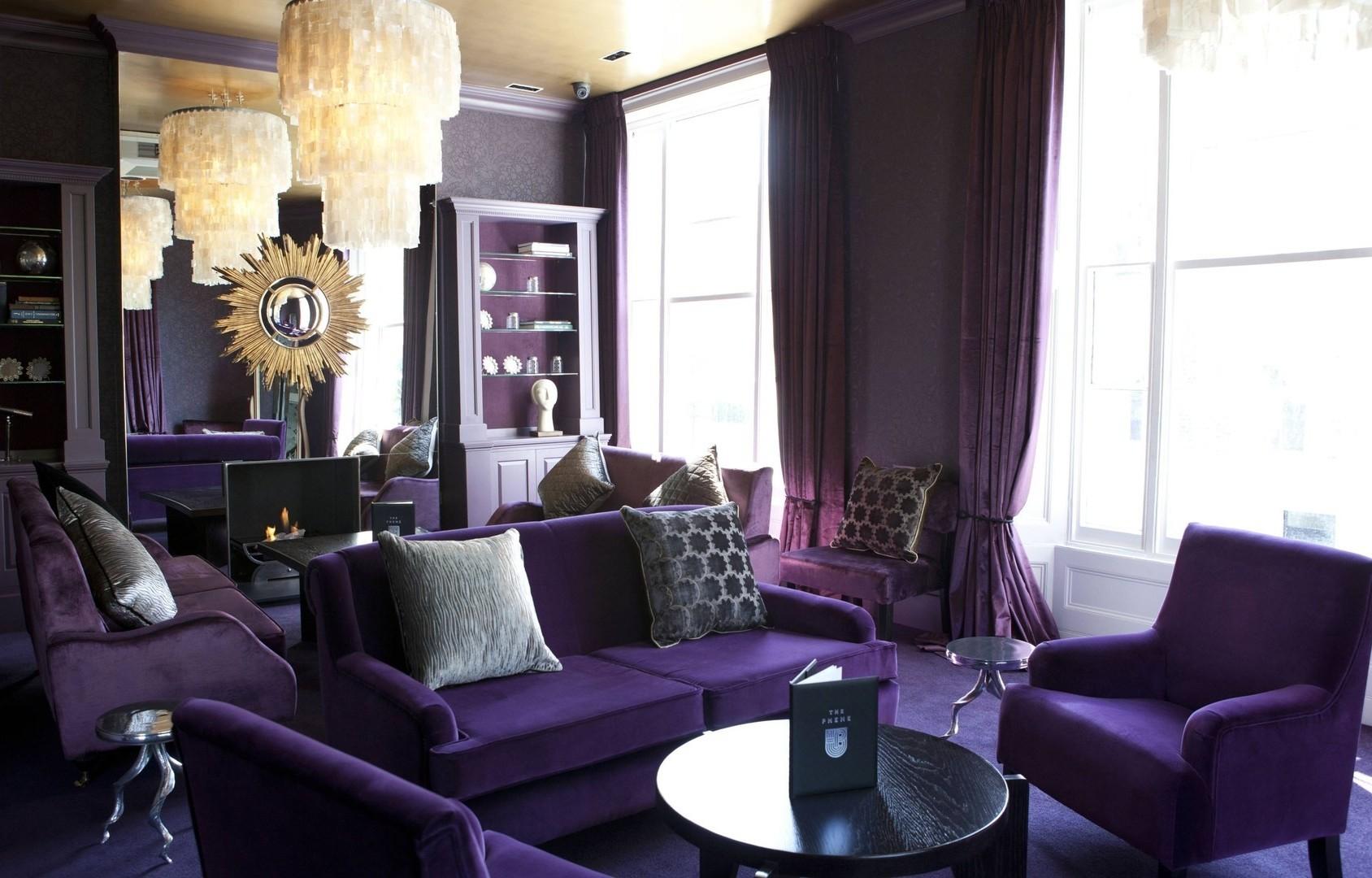Мягкая фиолетовая мебель