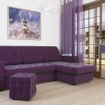 диван фиолетовый с пуфом