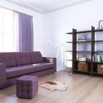 диван фиолетовый с пуфиком