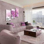 лиловый диван угол