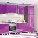 фиолетовый кухонный гарнитур глянцевый