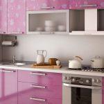 фиолетовый кухонный гарнитур розоватый