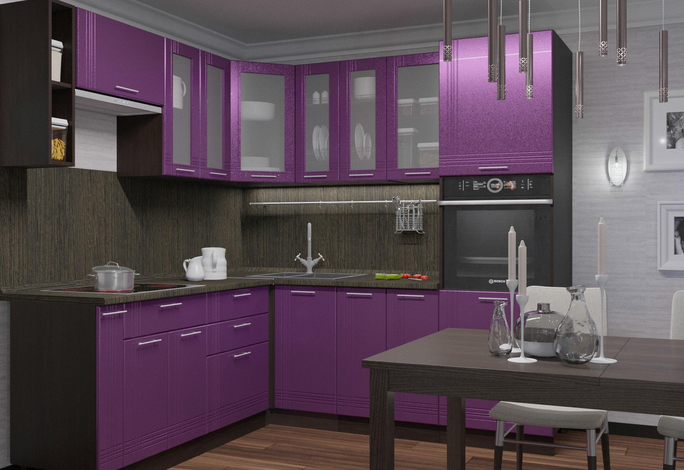 стекло на фиолетовой кухне