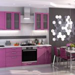 фиолетовы с мозаикойй кухонный гарнитур