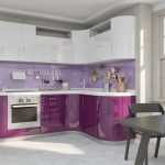 фиолетовый кухонный гарнитур с белым