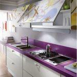 фиолетовый кухонный гарнитур с мойками