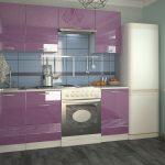 фиолетовый кухонный гарнитур с плитой