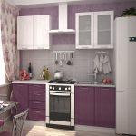 фиолетовый кухонный гарнитур с белым шкафом