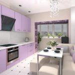 фиолетовый кухонный гарнитур бледный
