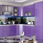фиолетовый кухонный гарнитур с лесом