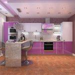 фиолетовый кухонный гарнитур с лампочками