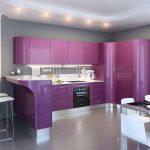 фиолетовый кухонный гарнитур плавный