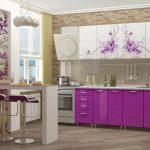 фиолетовы с рисункомй кухонный гарнитур