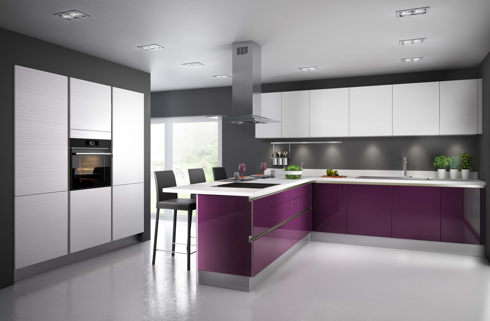 потолок на фиолетовой кухне