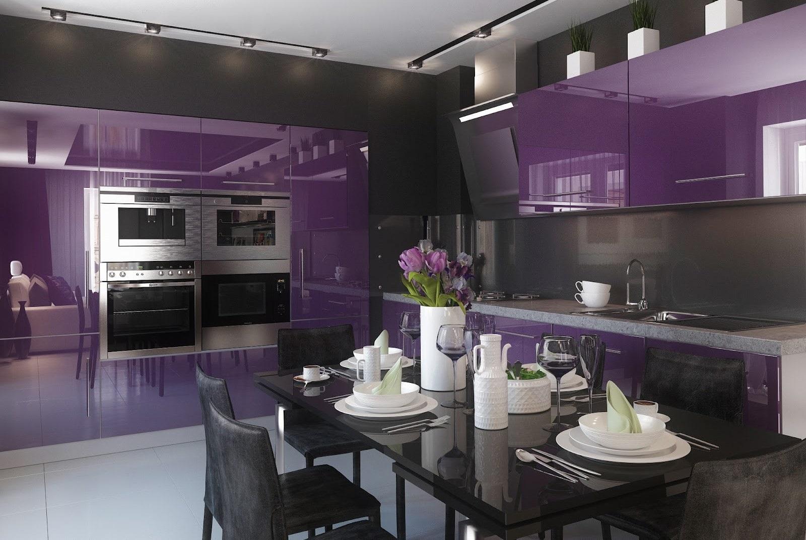 черный стол в фиолетовой кухне