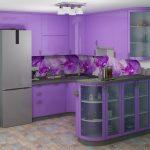 фиолетовый кухонный гарнитур с баром
