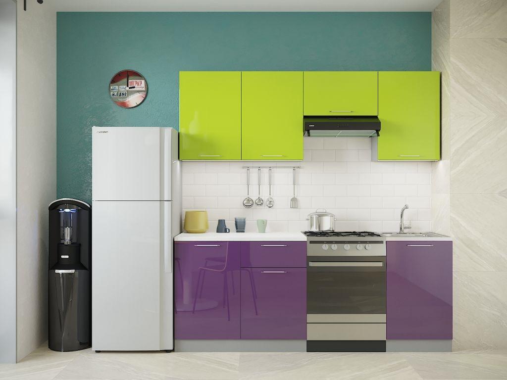 фиолетовый с фисташковым на кухне