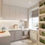 кухонный гарнитур с растениями