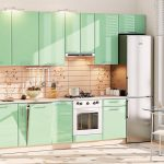 кухонный гарнитур зеленый с бежевым