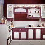 кухонный гарнитур бордовый