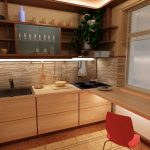 кухонный гарнитур с красным стулом