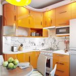кухонный гарнитур ярко-оранжевый