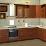 кухонный гарнитур коричневый большой