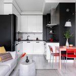 кухонный гарнитур черно-белый