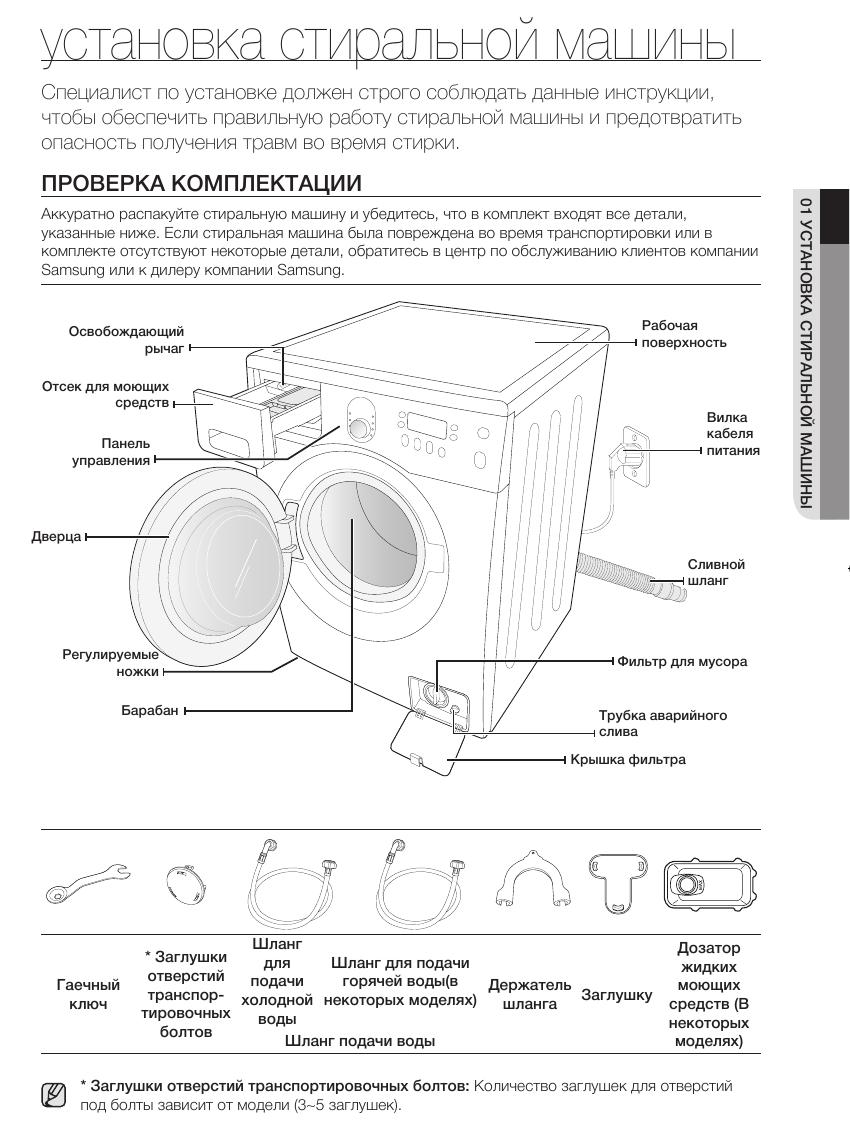 инструкция по установке стиральной машины