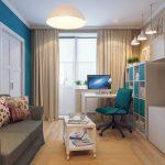 узкая комната голубая