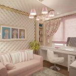 светло-бежевый интерьер комнаты для девочек