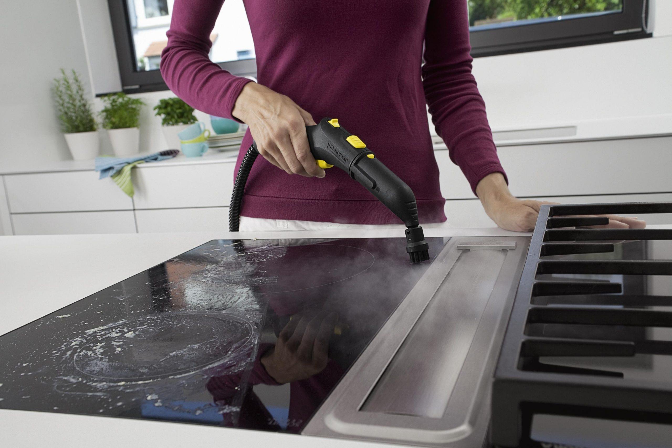 очищение плиты паром