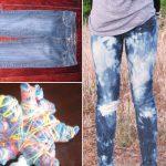 как отбелить джинсы разводами