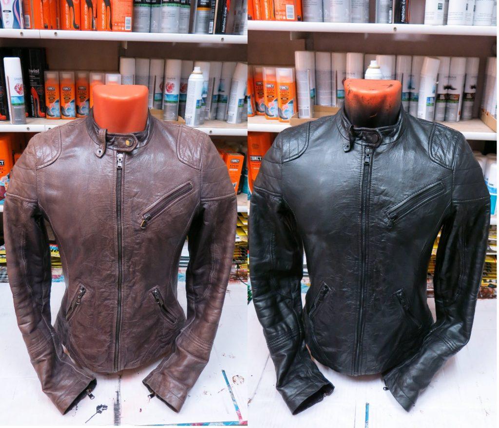 покраска куртки до и после