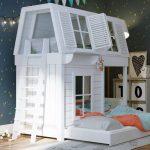 белый домик - кровать двухъярусная