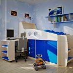 двухъярусная кровать в синем варианте
