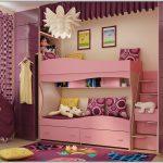 розовая двухъярусная кровать для девочки