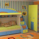 сине-желтая двухъярусная кровать