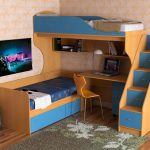 комплекс для двух детей с рабочим столом и лестницей
