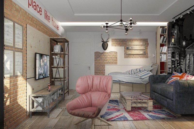 комната для девочки подростка в стиле лофт
