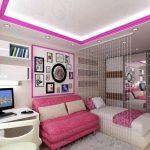 розовый диван в комнате девушки подростка