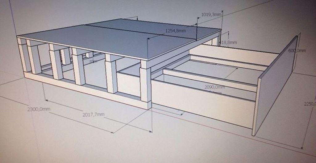 кровать подиум чертеж